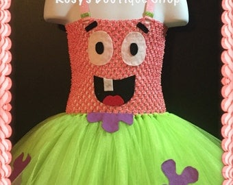 Patric the star inspired tutu dress, Halloween tutu dress, Birthday tutu dress, spongebob tutu dress