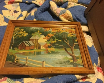 Vintage paint by number farm and lake scene framed