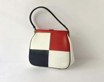 Vintage 1960s Mod Purse Red White and Blue Julius Resnick J R Miami Handbag Designer Color Block Midcentury Purse Ladies Handbag