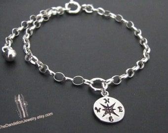 Compass Bracelet, Sterling Silver Bracelet, Enjoy the Journey, Travel Jewelry, Gift