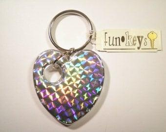 4 Vintage Lucite Rainbow Heart Keychains