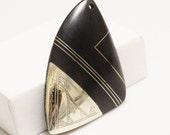 Mali Tuareg Ebony Wood and Metal Pendant, African Pendant, Tribal Jewelry Supplies (R45)