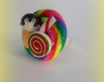 Fake Candy Ring Ice cream cone Candy Swirl Lollipops and Peppermint