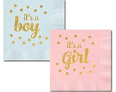Baby Shower Napkins, It's A Girl, It's A Boy, Shower Napkins, Baby Shower Decor- set of 25