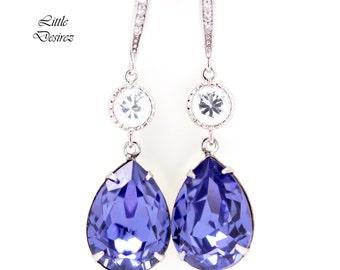 Purple Earrings Lavender Bridal Earrings Swarovski Crystal Tanzanite Earrings Bridesmaid Earrings Purple Jewelry Hypoallergenic TZ31HC