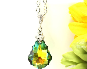Swarovski Necklace Green Yellow Necklace Bridesmaid Gift Sahara Baroque Crystal Prom Jewelry Wedding Bridal Colorful Hypoallergenic SA30N