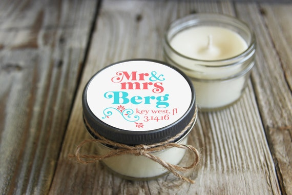 12 - 4 oz Wedding Favor//Mr. & Mrs. Favor//Soy Candle Favor//Personalized Wedding Favor//Shower Favor//Candle Favors//