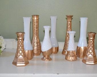 9 Vintage Milk Glass Vases Gold Dipped Vases Flower Vases Wedding Decor