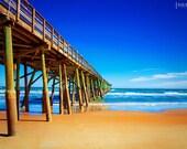 Summer - 8x12 Flagler Pier photography print travel ocean beach sand waves horizon landscape home decor nursery wall art blue tan sky clouds