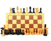 Chess Game Large Soviet Chess Vintage Chess Set Full Set Board Game Tactical Game Strategy Game Wooden Chess Wood Chess Board Figurines