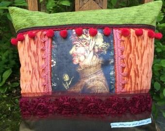 Baroque decorative pillow, velvet, fabrics various trims and tassels
