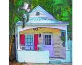 Colorful Whimsical Key West Cottage 8x10 16x20 Glicee Print Korpita