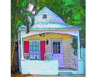 Colorful Whimsical Key West Cottage 8x10 16x20 Glicee Print Korpita