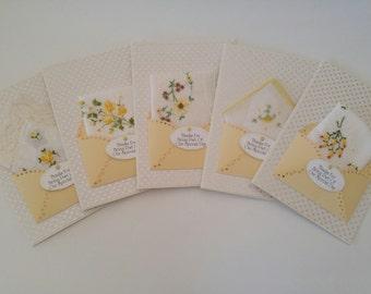 Bridesmaid Wedding Handkerchief Lot Autumn Yellow Gold Happy Tears Keepsake Tea Gift Appreciation Thank You Bridal Accessory Hankie Cards