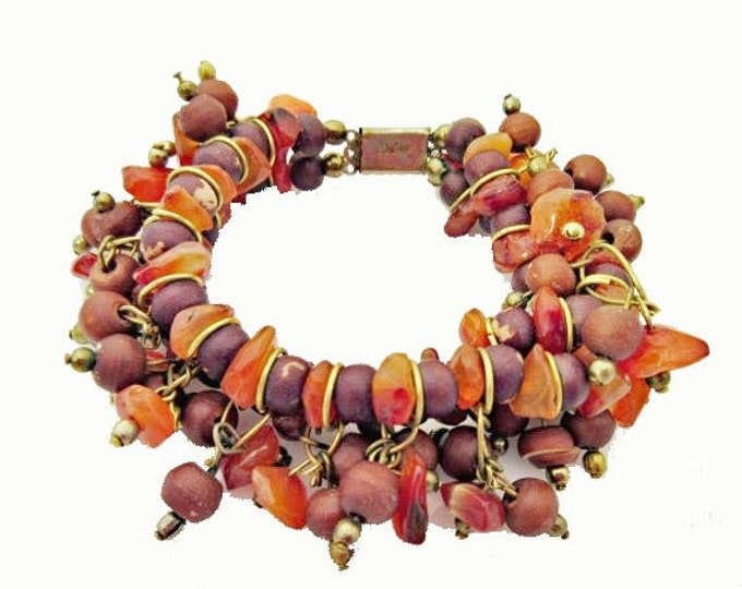 Boho Carnelian gemstone cha cha bracelet with brass and seeds