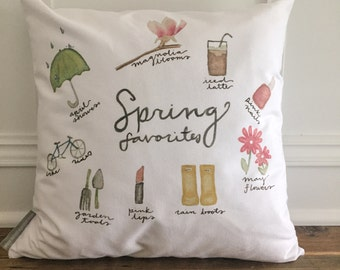 Spring Favorites Watercolor Pillow Cover