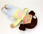 Baby Doll -- Soft Baby Toy -- Rosie Doll with Brown Curly Buns --  Floral Shirt And Striped Pants -- Baby's First Doll -- Baby Shower Gift