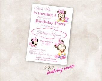 5X7 Birthday party invite Invitation Instant Download Just add your info and print!  Mini Mouse birthday party