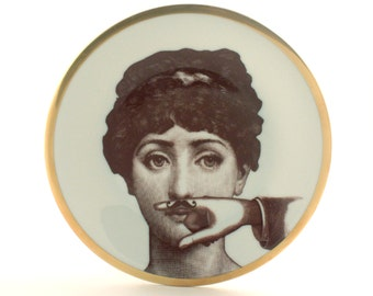 Porcelain Plate Altered Face Lina Cavalieri Moustache Hand Woman Vintage Golden Rim Dishware Housewarming Wedding Gift