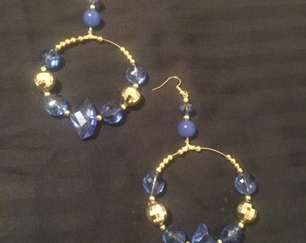 Beautiful blue and gold hoops