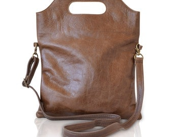 brown leather shoulder bag, brown leather handbag, leather crossbody bag, leather clutch bag