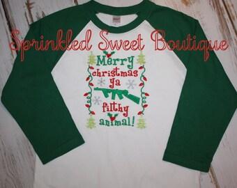 Merry Christmas Ya Filthy Animal Boys Girls Applique Holiday Shirt Cute First Christmas White or Raglan Shirt Onesie