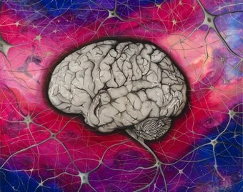 Brain Art Print, Signed, Home Decor, Fine Art