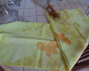 Vintage Standard Size Cotton Pillowcase/Cover-Yellow/Orange Butterfly/Butterflies-Mod/MidCentury