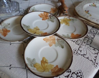 Vintage Fransican-October-Coffee/Teacup Saucer Plates Lot-Orange/Yellow/Green Leaves/Brown Twig