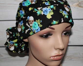 Ponytail Surgical Scrub Hat with fabric ties. Charm Skulls