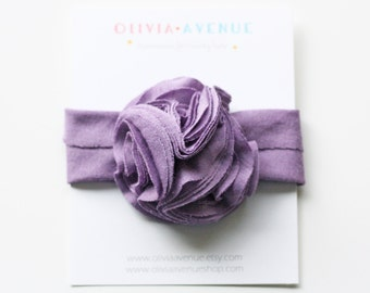 Jersey Knit Flower Trio Headband in Lavender OR Color of Your Choice