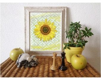 SUNFLOWER Art Print, Sun, Green, Yellow, Flower, Home Decor, Vintage Decor, Nursery Wall Art, Wildflower / 8x10in