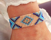 Turquoise Bead Loom Bracelet - Boho Bracelet - Ethnic Bracelet - Statement Bracelet - Evil Eye Bracelet - Nude Blue Beaded Bracelet
