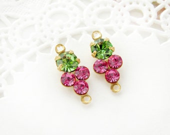 Petite Rose Pink and Peridot Green Swarovski Rhinestones Round Stones in Brass 2 ring Connector Settings - 2