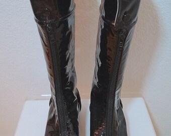 SALE Courreges Black Patent Leather Go-Go Boots US Size 9 EU 40 / 60s Style Courregés Paris Cap Toe Designer Boots