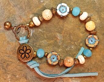 Hawaiian Flower Picasso, Capri Blue Jade Crystals, Bracelet Turquoise Leather Wrap, Vintage Bronze Button Closure, Bohemian Style