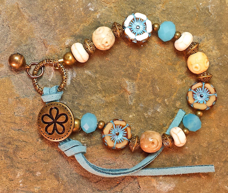 Hawaii Flower Picasso Capri blau Jade Kristalle Armband