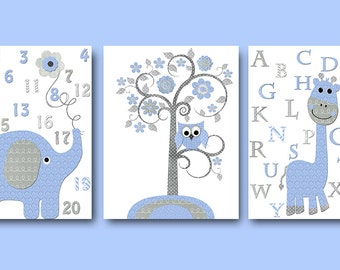 Grey Blue Elephant Decor Giraffe Decor for Nursery Alaphebt Giraffe Canvas Elephant Numbers Baby Boy Wall Decor Tree Nursery Prints set of 3