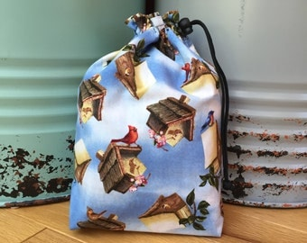 Small 'Birds and Birdhouses' Project, Knitting, Crochet, Needlework, Lunch Bag
