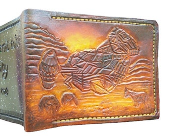 Wallet, Firefly inspired, Serenity Vessel landing, tooled Leather, cards/coins/notes