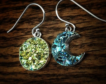Bismuth Crystal Sun and Moon Earrings - Custom Order - Dangle Earrings - Bismuth Jewelry - Boho Earrings - Celestial Earrings - Gift for her