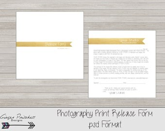 Copyrights release form, print release form, photography print release form