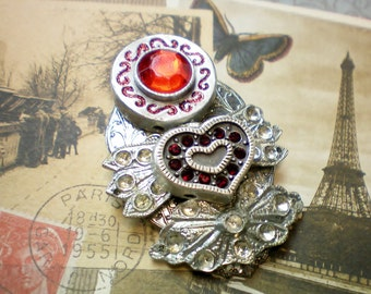 Red heart abstract angel pin, Recycled jewelry, Handmade jewelry, Repurposed jewelry, Upcycled jewelry, Free USA shipping. Made in USA/MI.