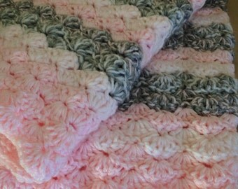Double thick Precious Pink, Gray, and White Crochet Baby Blanket,  lap size.
