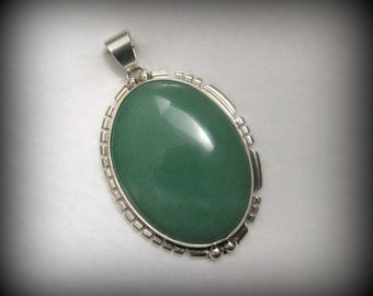 """Vintage NAVAJO JADEITE and Sterling Silver Pendant -- 21g, 2-5/16"""" Long, Signed V. NEZ, Beautiful Color and Detail"""