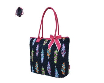 Quilted Purse, Feather Print in Navy with Pink Accents, Free Monograming/Personalization