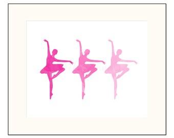 Pink Ballerina Art Printable Dancer Wall Art Pink Watercolor Ballet Baby Shower Gift for Her Home Decor Minimalist Nursery Art Daughter Gift