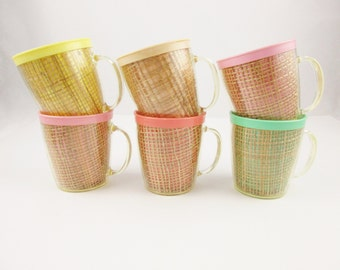 Six Supercool Thermal Mugs - Hot OR Cold - Bubblegum, Mint Green, Buttercup Yellow, Peach, Pink and Tan - Rattan Inside Plastic