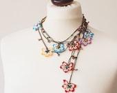 Boho Colorful Flower Necklace, Oya Beaded Crochet Necklace, Boho Wrap Necklace, Vintage Wrap Beaded Lariat Jewelry Beadwork, ReddApple