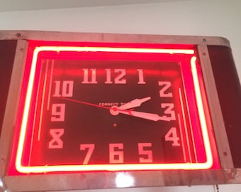 1940's Vintage Neon Clock Rectangular Square Red Black Chrome Correct Time Crescent Moon Mid Century Modern Collector Item